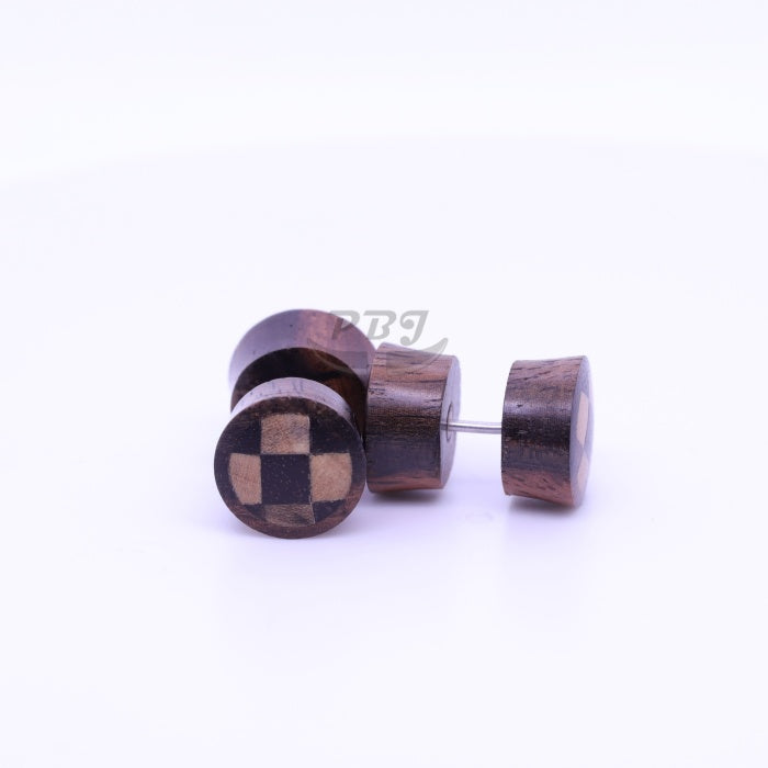 Checker Fake Plug-Wood