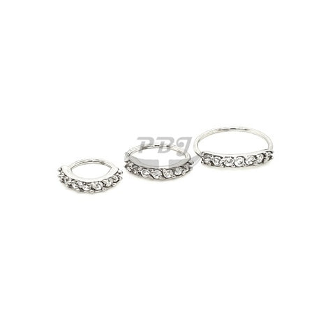 20G 7 CZ Prong Set Flexible Hoop 3pcs/pack Price -316L S. Steel