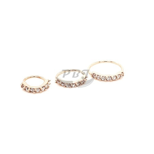 20G 7 CZ Prong Set Flexible Hoop 6pcs/pack Price-Gold Steel