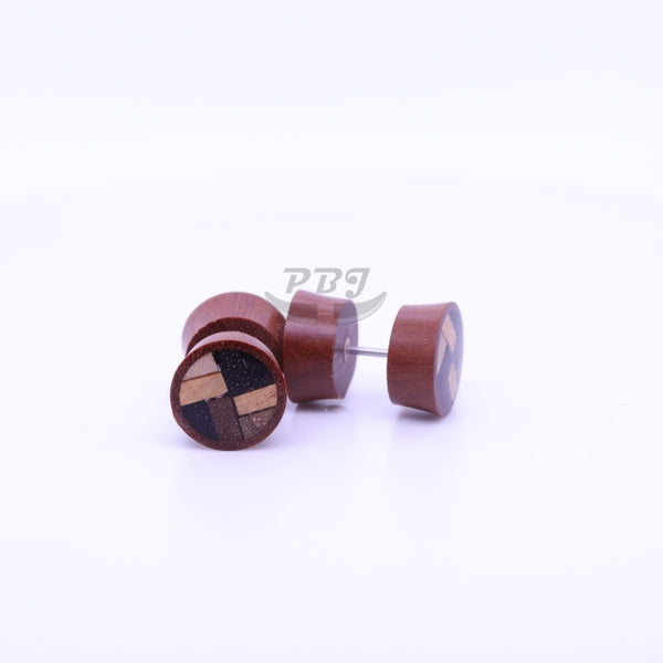 Big Checker Inlay Fake Plug-Wood
