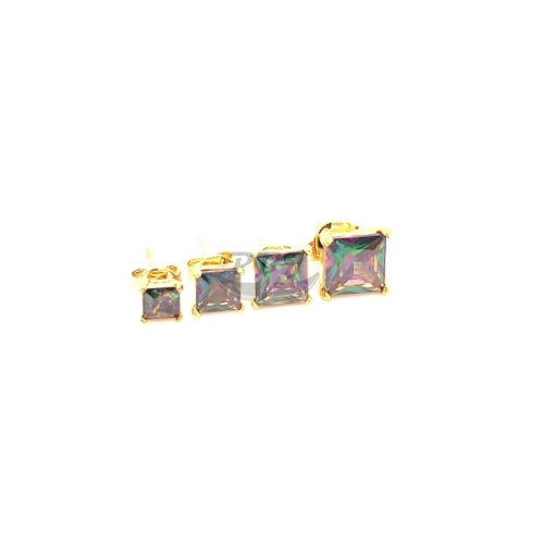 Rainbow Black Square CZ Earstud Yellow Gold