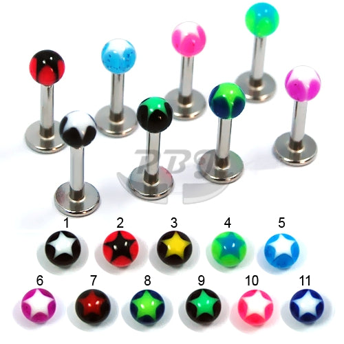 Labret-17 Star Inlay 4mm, 4pcs/pack