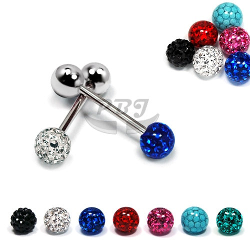 14G Barbell Disco Ball, 2pcs/pack Price-316L S. Steel