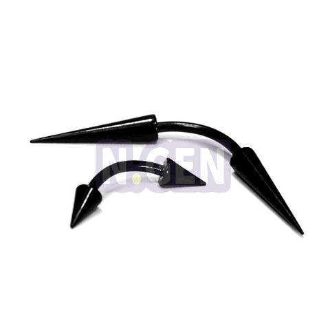 16G Long Cone Eyebrow-Black Steel