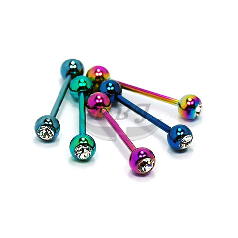 14G Jeweled barbell-Color Steel