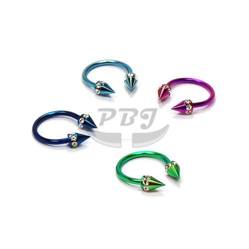 16G  Multi Jeweled Cone Horseshoe(CBB)-Color Steel