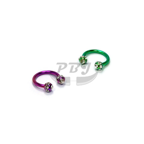 16G Multi Jeweled Horseshoe(CBB)-Color Steel