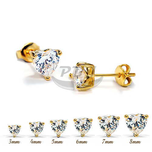 Heart Clear CZ Yellow Gold