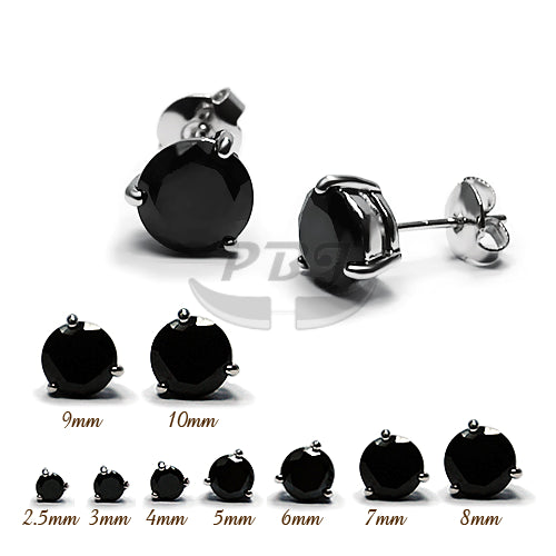 3 Prong Round Black CZ Earstud White Gold
