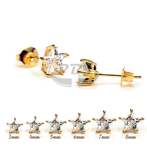 Star Clear CZ Yellow Gold