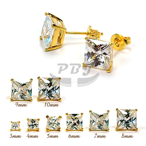 Square Clear CZ Earstud Yellow Gold