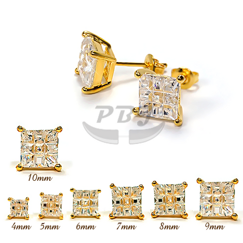 Invisible Square Clear CZ Earstud Yellow Gold