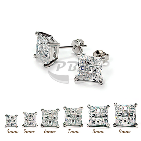 Invisible Square Clear CZ Earstud White Gold