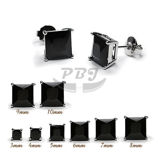 Square Black CZ Earstud White Gold