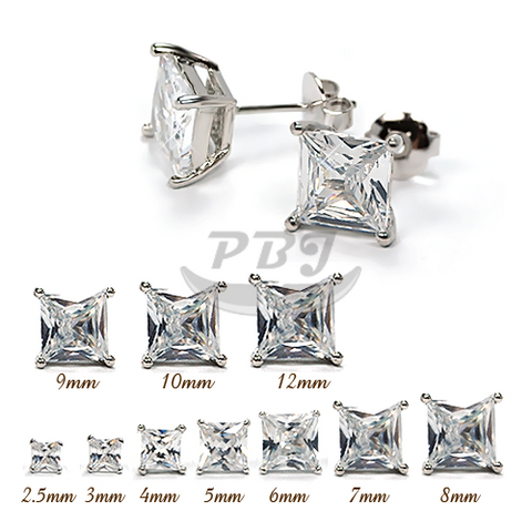 Square Clear CZ Earstud White Gold
