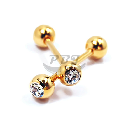 14G Jeweled Barbell-Gold Steel