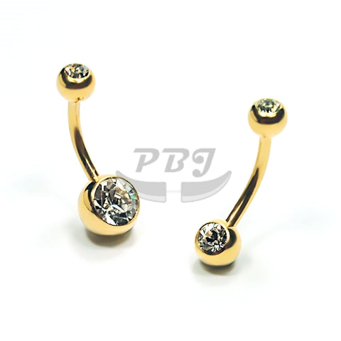 14G Double Jeweled Belly-Gold Steel