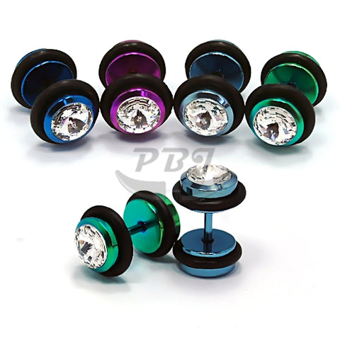 16G Jeweled Fake Plug-Color Steel