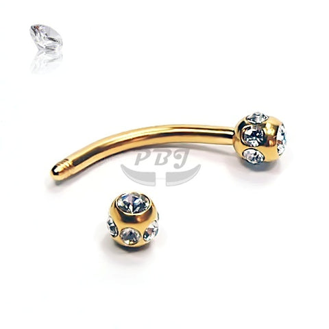 16G Gold Multi Jeweled Eyebrow-Gold Steel