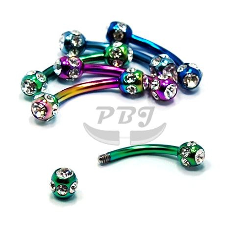 16G Multi Jeweled Eyebrow-Color Steel