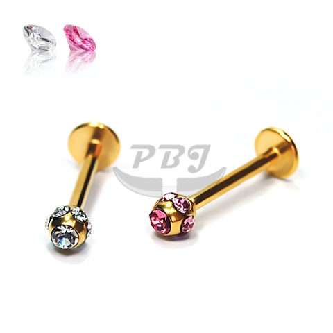 16G Gold Multi Stone Ball Labret-Gold Steel