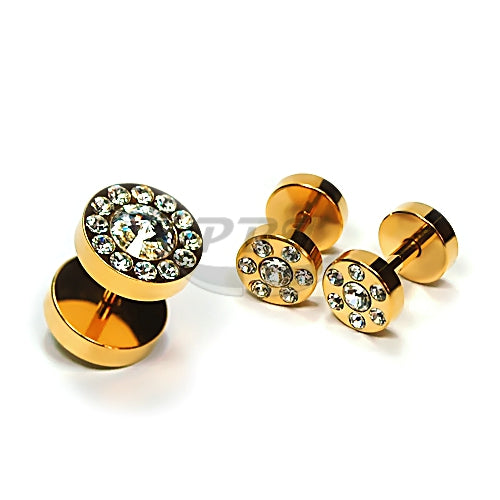 16G Multi Jeweled Fake Plug-Gold Steel