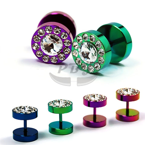 16G Multi Jeweled 00G Fake Plug-Color Steel
