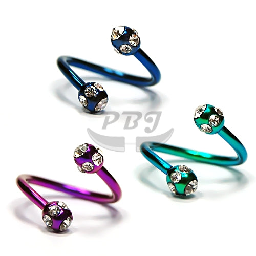16G Multi Jeweled Twister-Color Steel