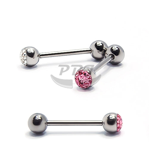 14G Barbell Blingy Half Epoxy Stone, 2pcs/pack Price-316L S. Steel