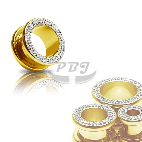 "Gold Round Bling-Bling Flesh Tunnel 10G~9/16"" - Gold Steel"