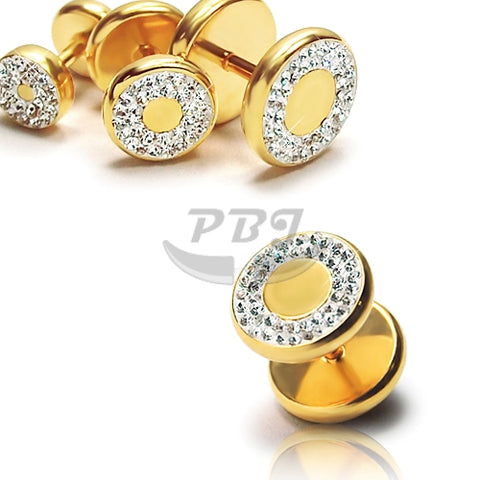 16G Round Multi Jeweled Fake Plug-Gold Steel
