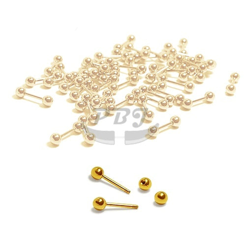18G Small Barbell-Gold Steel