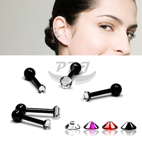 18G Mini Ear Jeweled Barbell-Black Steel