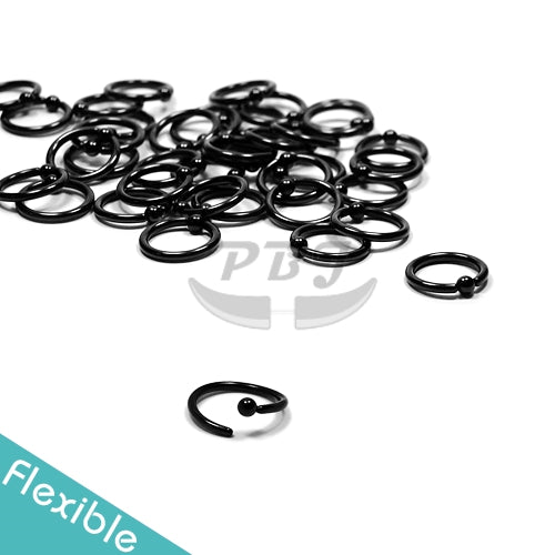 16G Ball Fixed Flexible Hoop-Black Steel