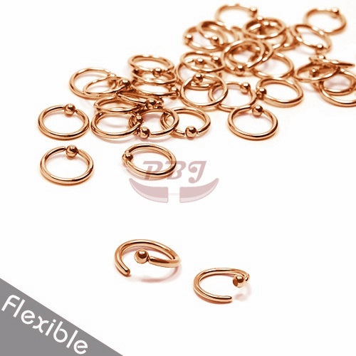18G Rose Gold Ball Fixed Flexible  BCR-Gold Steel