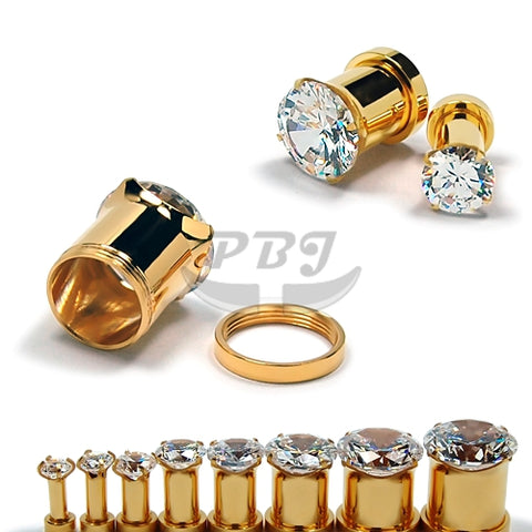 "Gold CZ Set Flesh Tunnel 10G~1""- Gold Steel"