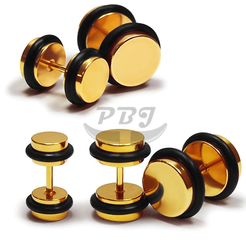 16G Plain Fake Plug-Gold Steel