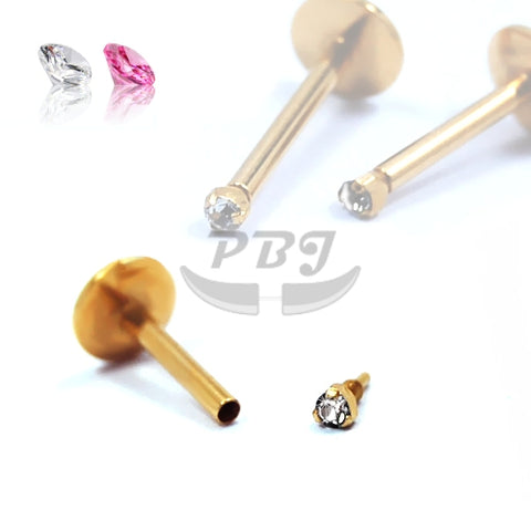 16G Gold Dia-Cut Prong Set Monroe-Gold Steel