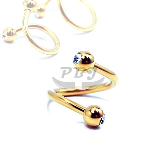 16G, Double Jeweled Twister-Gold Steel