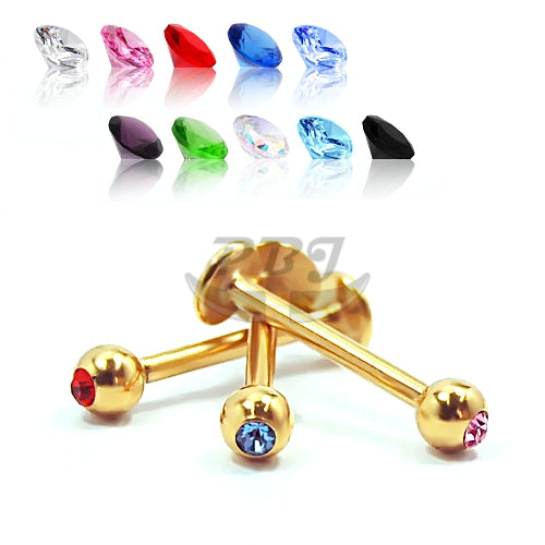 16G Gold 4mm Jeweled Labret-Gold Steel