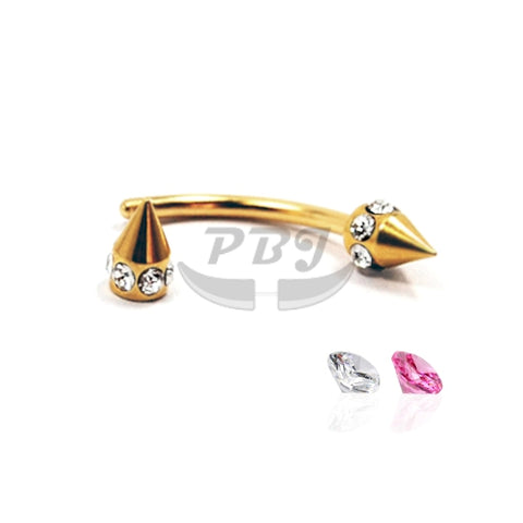16G Gold Multi Jeweled Cone Eyebrow-Gold Steel
