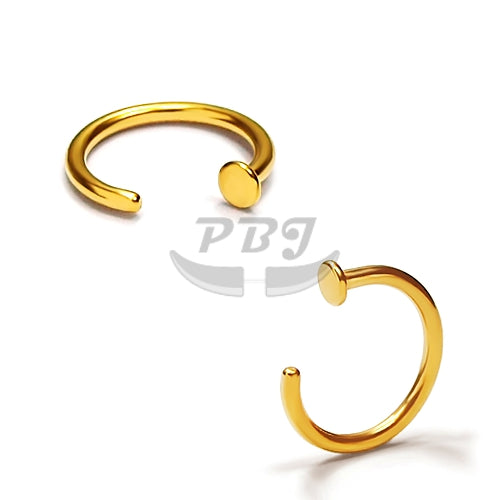 20G Gold/Rose Gold Hoop w/Stopper 6pcs/pack Price - Gold Steel