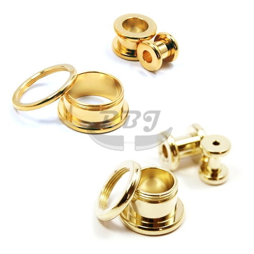 "Gold Flesh Tunnel 10G~11/16""~1"" - Gold Steel"