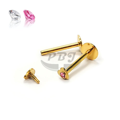 16G Gold Gem Heart Monroe-Gold Steel