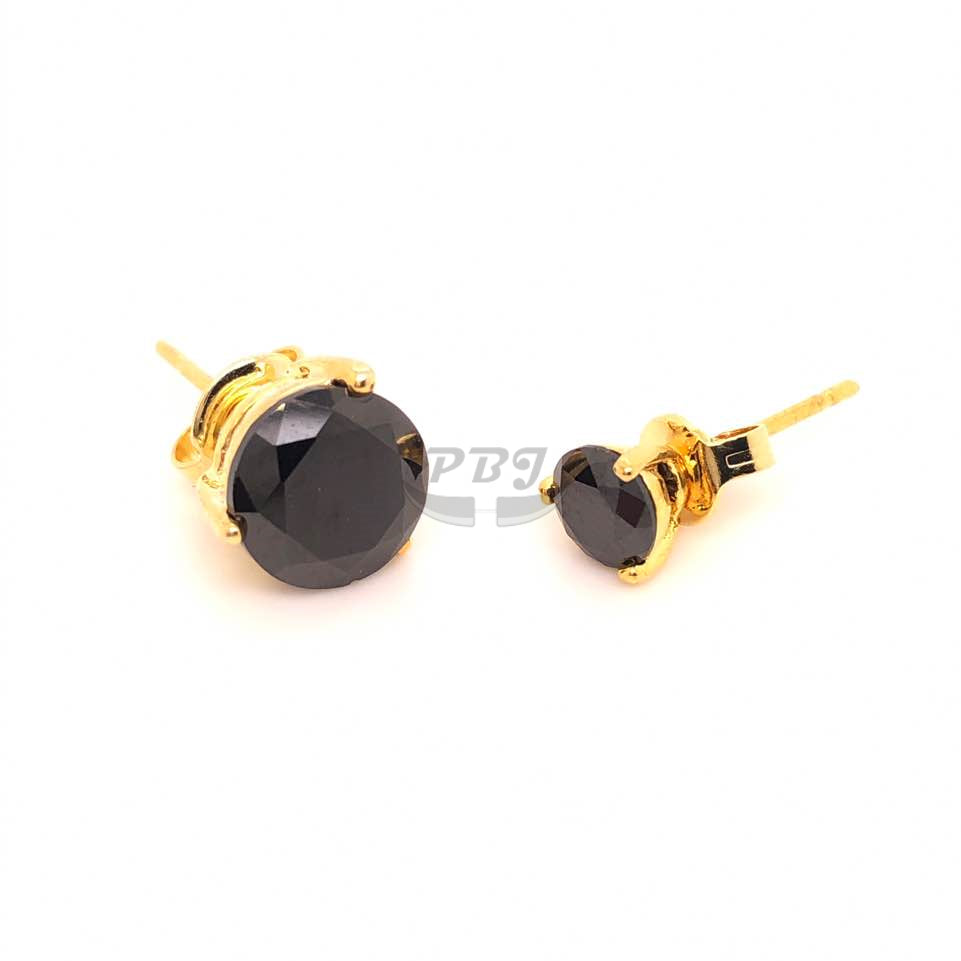 3 Prong Round Black CZ Earstud Yellow Gold