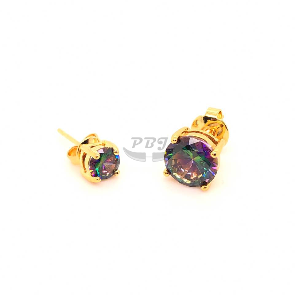 4 Prong Rainbow Black Round CZ Earstud Yellow Gold