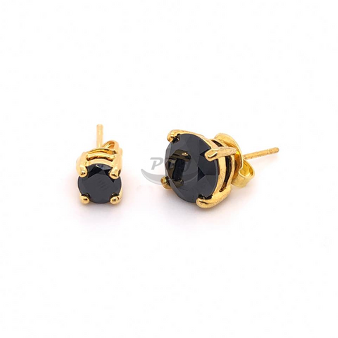 4 Prong Round Black CZ Earstud Yellow Gold