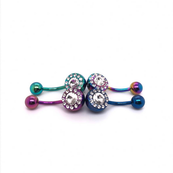 14g Big Multi Jeweled Belly-Color Steel