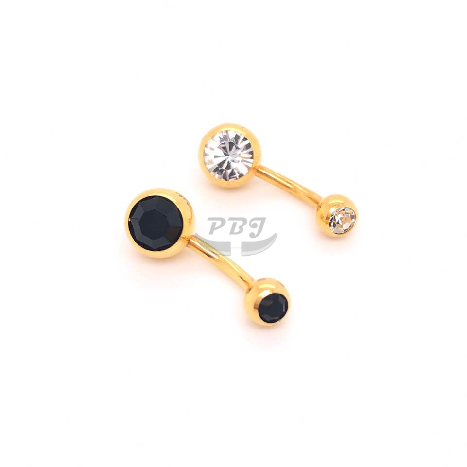 "14G-3/8""(10mm) Double Jeweled Belly-Gold Steel"