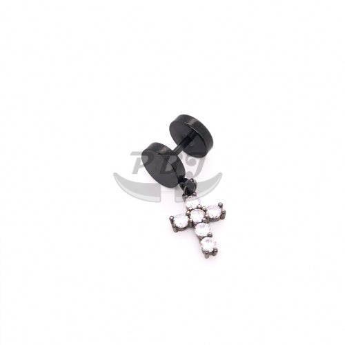 16G CZ Cross Dangle Fake Plug-Black Steel